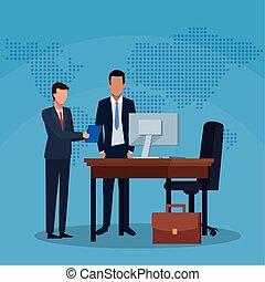 αναλόγιο έδρα , γραφείο , businessmen , ντοσσιέ , βαλίτσα , επιτυχία , ηλεκτρονικός εγκέφαλος αγαθοεργήματα , επιχείρηση