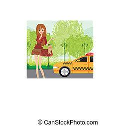 αναμονή , γυναίκα , κομψός , ταξί