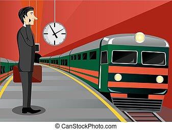 αναμονή , επιχειρηματίας , τρένο