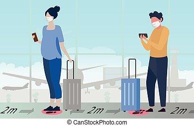 αναμονή , κτίριο , αεροδρόμιο , μεγάλος , ουρά , οικοτροφία , άνθρωποι
