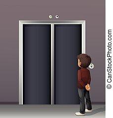 αναμονή , πόρτα , ανελκυστήρας , άντραs