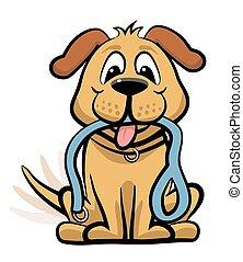 αναμονή , σκύλοs , clipart , βόλτα