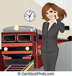 αναμονή , τρένο , επιχειρηματίαs γυναίκα