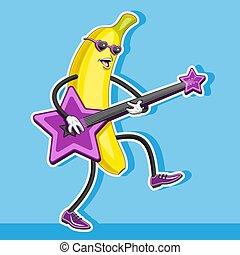 αναξιόλογος , image., star., χαρακτήρας , κιθάρα , σχήμα , μικροβιοφορέας , μπανάνα