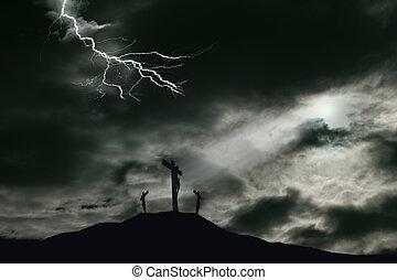 αναπαράσταση της σταύρωσης από ιησούς χριστός