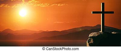 αναπαράσταση της σταύρωσης από ιησούς χριστός , ξύλινος , σταυρός , ουρανόs , σε , ηλιοβασίλεμα , φόντο. , 3d , εικόνα