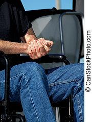 αναπηρική καρέκλα , αγκαλιάζω ανάμιξη