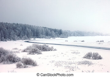 ανατολή , πάνω , ένα , ασαφής , ποτάμι , μέσα , χειμώναs