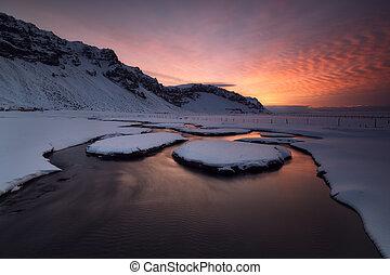 ανατολή , πάνω , ένα , κατακλύζω , ποτάμι , μέσα , ισλανδία