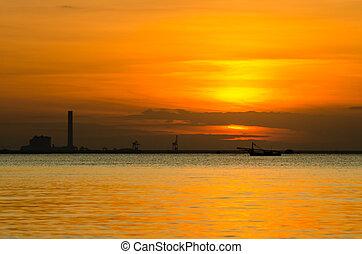 ανατολή , πάνω , βιομηχανικός , εργοστάσιο , θάλασσα