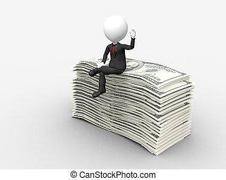ανατρέφω , κάθονται , ανώτατος , δολάριο , χέρι , επιχειρηματίας , θημωνιά , 3d