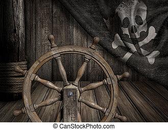 ανατυπώνω παράνομα , πλοίο , τιμόνι , με , γριά , αγγλος πεζοναύτης roger , σημαία