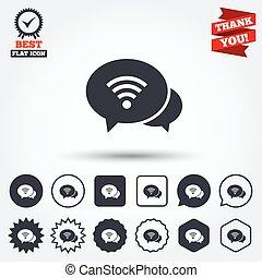 αναχωρώ. , wifi, σύμβολο. , bubbles., λόγοs , κουβέντα , wi-fi
