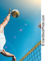 ανδρικός , - , λεπτομέρεια , volleyball αμιγής , παραλία