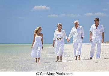 ανδρόγυνο , περίπατος , οικογένεια , δυο , θερμότατος ακρογιαλιά , γένεση