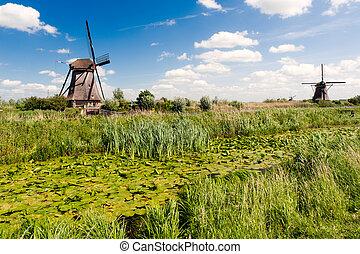 ανεμόμυλος , τοπίο , σε , kinderdijk , ο , ολλανδία