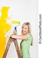 ανεμόσκαλα , γυναίκα , ζωγραφική , ευτυχισμένος