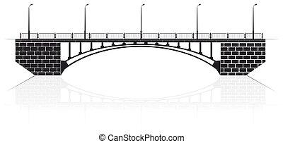 ανεφοδιάζω , μπετό , αψίδα γέφυρα , μέσα , kiev , για , άμαξα αυτοκίνητο , και , pedestrians.