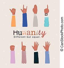 ανθρωπότητα , ίσα , πάνω , διαφορετικός , ανάμιξη , αλλά , μικροβιοφορέας , σχεδιάζω , ποικιλία