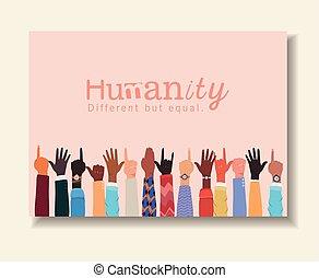ανθρωπότητα , αλλά , πάνω , ανάμιξη , μικροβιοφορέας , ποικιλία , ίσα , διαφορετικός , σχεδιάζω