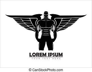 ανθρώπινος , πτερωτός , man., silhouette., γυμναστική συσκευή ανάπτυξης μυών , περίγραμμα