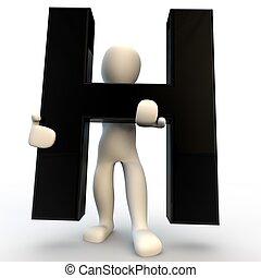 ανθρώπινο όν ακόλουθοι , χαρακτήρας , μικρό , μαύρο , h , κράτημα , γράμμα , 3d