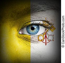 ανθρώπινο όν αντικρύζω , απεικονίζω , με , σημαία , από , βατικανό