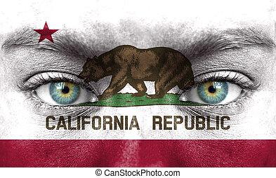 ανθρώπινο όν αντικρύζω , απεικονίζω , με , σημαία , από , καλιφόρνια