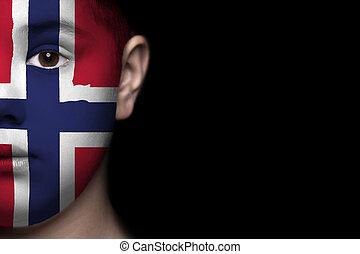 ανθρώπινο όν αντικρύζω , απεικονίζω , με , σημαία , από , ούτε