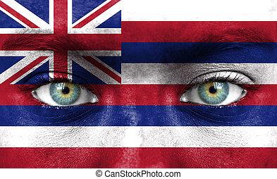 ανθρώπινο όν αντικρύζω , απεικονίζω , με , σημαία , από , χαβάη