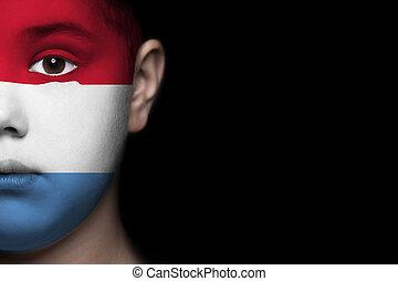 ανθρώπινο όν αντικρύζω , απεικονίζω , με , σημαία , από , lux