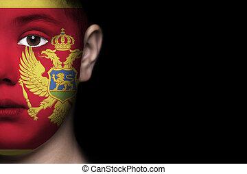 ανθρώπινο όν αντικρύζω , απεικονίζω , με , σημαία , από , mon