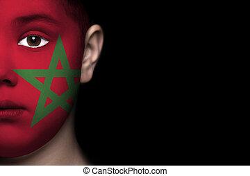 ανθρώπινο όν αντικρύζω , απεικονίζω , με , σημαία , από , mor