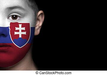 ανθρώπινο όν αντικρύζω , απεικονίζω , με , σημαία , από , slo