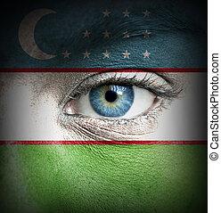 ανθρώπινο όν αντικρύζω , απεικονίζω , με , σημαία , από , uzbekistan