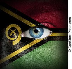 ανθρώπινο όν αντικρύζω , απεικονίζω , με , σημαία , από , vanuatu