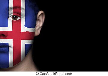 ανθρώπινο όν αντικρύζω , απεικονίζω , με , σημαία