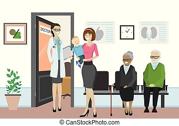 ανοίγω , άνθρωποι , ακάνθουρος , διαφορετικός , γραφείο , αναμονή , πόρτα , γελοιογραφία