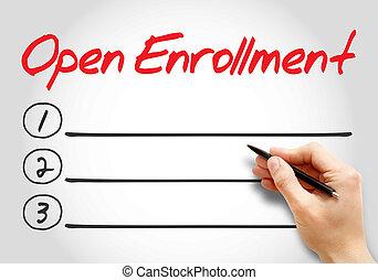 ανοίγω , enrollment, καταγράφω , κενό