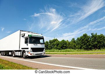ανοικτή φορτάμαξα οδηγώ , επάνω , άκρη γηπέδου δρόμος
