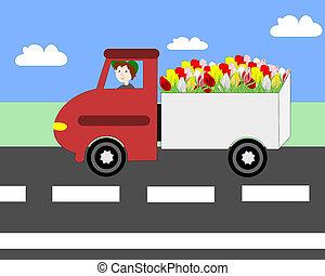 ανοικτή φορτάμαξα οδηγώ , επάνω , ο , αυτοκινητόδρομος , μεταφορά , λουλούδια