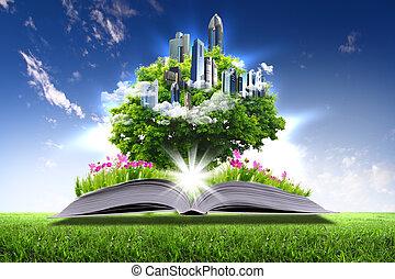 ανοιχτό βιβλίο , με , πράσινο , φύση , κόσμοs