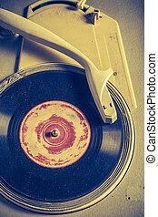αντίκα , γραμμόφωνο , και , γριά , vinyls, με , γρατσούνισα