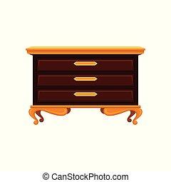 αντίκα , κομμό , με , χρυσαφένιος , γάμπα , αγγίζω , και , ανώτατος , surface., γριά , ξύλινος , commode., κρασί , furniture., διαμέρισμα , μικροβιοφορέας , σχεδιάζω