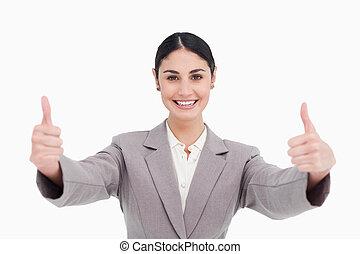 αντίστοιχος δάκτυλος ζώου , χαμόγελο , χορήγηση , επιχειρηματίαs γυναίκα , πάνω , νέος