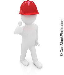 αντίχειραs , σκληρά , πάνω , άντραs , καπέλο , 3d