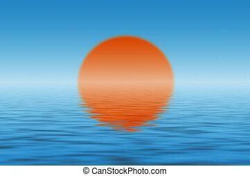 αντανάκλαση , ήλιοs , πάνω , νερό , θάλασσα , του