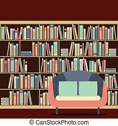 αντιμετωπίζω , βιβλιοθήκη , διάβασμα , κάθισμα