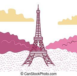 αντιμετωπίζω , eiffel , style., εικόνα , πύργος , μικροβιοφορέας , βράδυ , βλέπω , διαμέρισμα , αντίκρυσμα του θηράματοσ.
