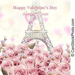 ανώνυμο ερωτικό γράμμα , ημέρα , κάρτα , με , πύργος του αΐφελ , και , roses., ευτυχισμένος , γιορτή , vector., παστέλ , ροζ , μπογιά , αβρός , διάταξη